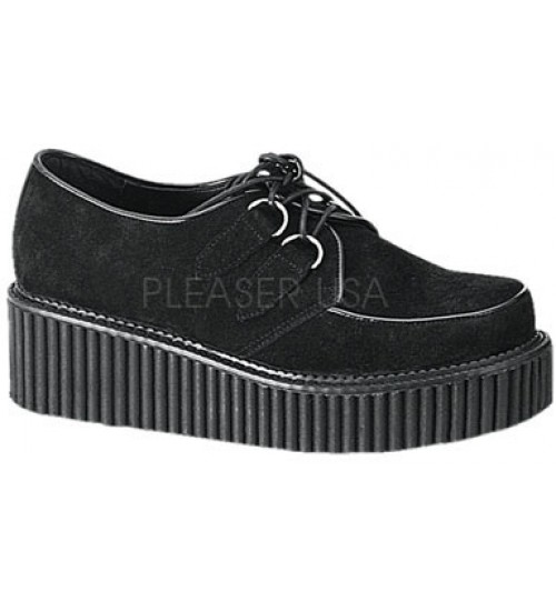Black Suede Womens Creeper at Gothic Plus,  Gothic Clothing, Jewelry, Goth Shoes, Boots & Home Decor