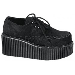 Black Suede Woven Womens Creeper Gothic Plus  Gothic Clothing, Jewelry, Goth Shoes, Boots & Home Decor