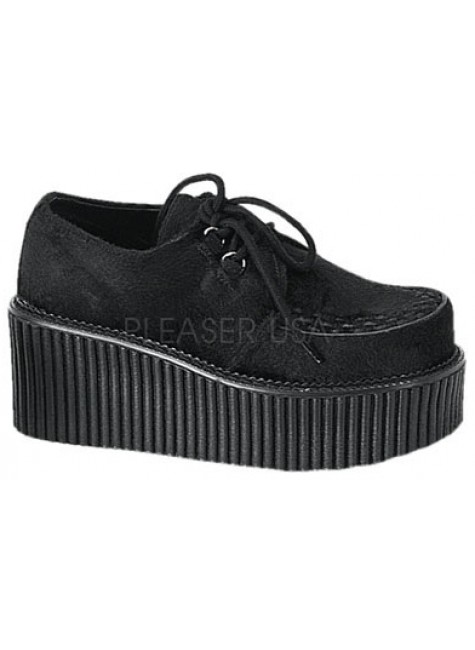 Black Suede Woven Womens Creeper at Gothic Plus, Gothic Clothing, Jewelry, Goth Shoes & Boots & Home Decor