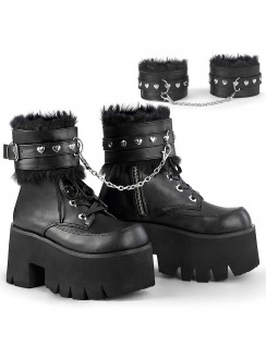 Ashes Black Hobble Boots with Removable Ankle Cuffs