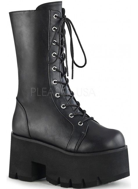 Ashes Womens Mid-Calf Platform Combat Boot at Gothic Plus, Gothic Clothing, Jewelry, Goth Shoes & Boots & Home Decor