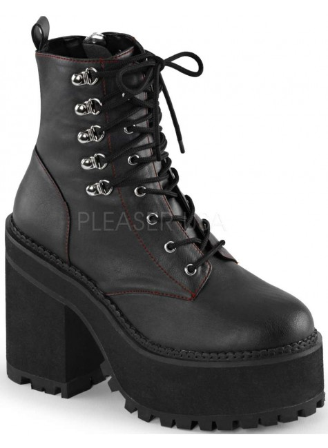 Assault Block Heel Womens Combat Boot at Gothic Plus, Gothic Clothing, Jewelry, Goth Shoes & Boots & Home Decor
