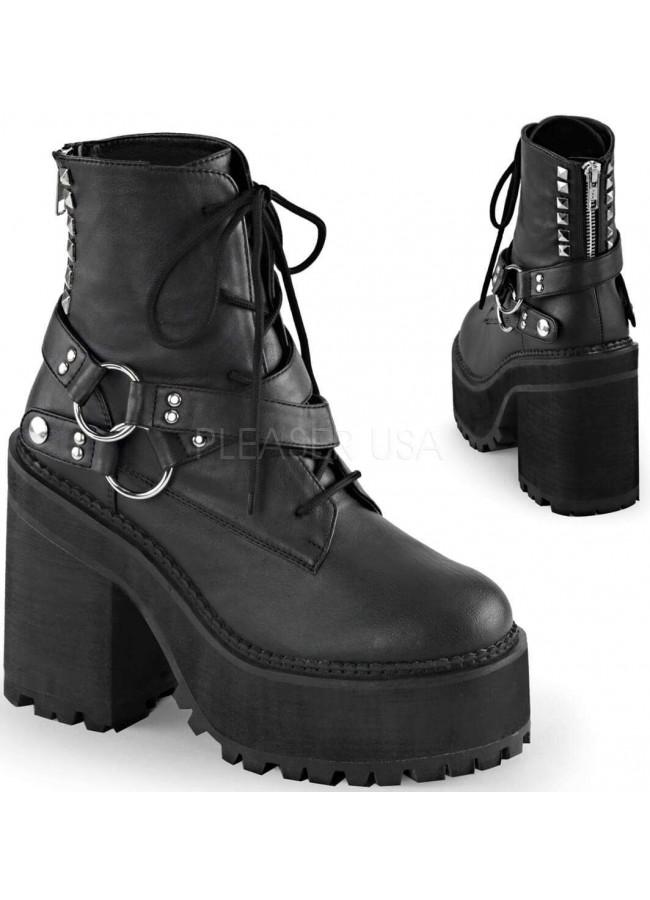 Assault 101 Womens Block Heel Vegan Black Leather Combat