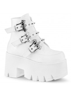 Ashes Bat Buckled White Ankle Boot