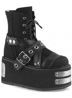 Damned Black Canvas Platform Ankle Boots Gothic Plus Gothic Clothing, Jewelry, Goth Shoes & Boots & Home Decor