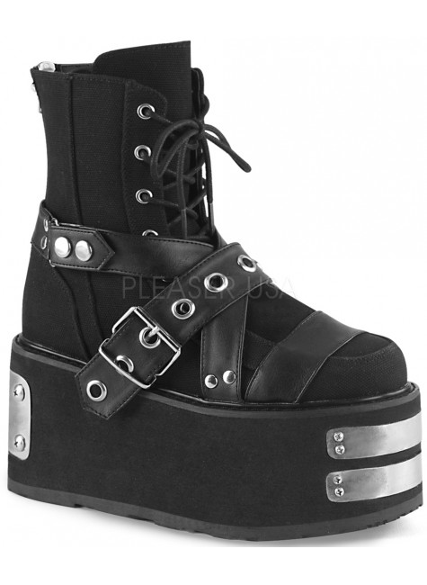 Damned Black Canvas Platform Ankle Boots at Gothic Plus, Gothic Clothing, Jewelry, Goth Shoes & Boots & Home Decor