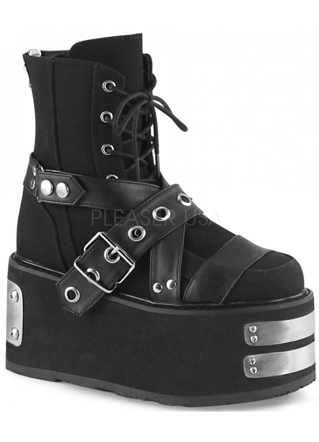 72a2d2febdd Damned Black Canvas Platform Ankle Boots at Gothic Plus
