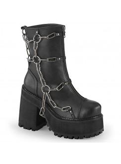 Assault Chained Block Heel Womens Combat Boot