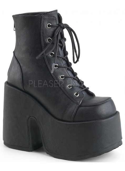Black Matte Chunky Platform Ankle Boots at Gothic Plus, Gothic Clothing, Jewelry, Goth Shoes & Boots & Home Decor