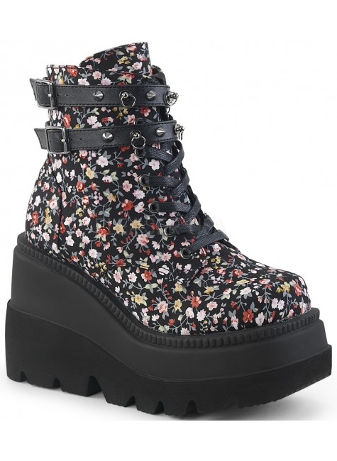 Shaker 52 Floral Print Womens Wedge Ankle Boot at Gothic Plus, Gothic Clothing, Jewelry, Goth Shoes & Boots & Home Decor