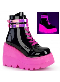 Black and Neon Pink Wedge Heel Womens Ankle Boot
