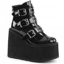 Black Patent Swing 105 Platform Ankle Boot Gothic Plus Gothic Clothing, Jewelry, Goth Shoes & Boots & Home Decor