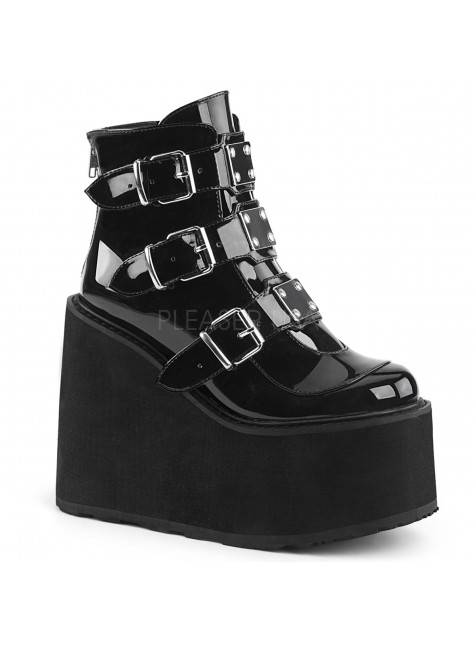 Black Patent Swing 105 Platform Ankle Boot at Gothic Plus, Gothic Clothing, Jewelry, Goth Shoes & Boots & Home Decor