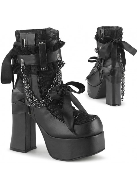 Charade Lace Accent Ankle Boots at Gothic Plus, Gothic Clothing, Jewelry, Goth Shoes & Boots & Home Decor