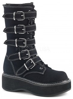 Emily White Edged Platform Mid-Calf Boot Gothic Plus Gothic Clothing, Jewelry, Goth Shoes & Boots & Home Decor