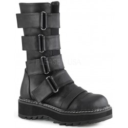 Lilith Black Wide Strap Mid-Calf Boots Gothic Plus Gothic Clothing, Jewelry, Goth Shoes & Boots & Home Decor