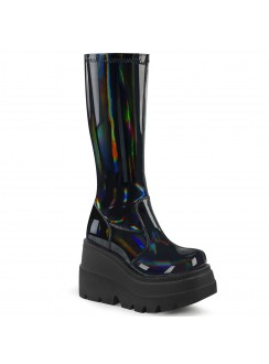 Black Hologram Shaker-65 Womens Knee Boots