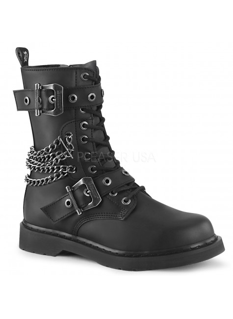 Chained Bolt Mens Combat Mid-Calf Boot at Gothic Plus, Gothic Clothing, Jewelry, Goth Shoes & Boots & Home Decor