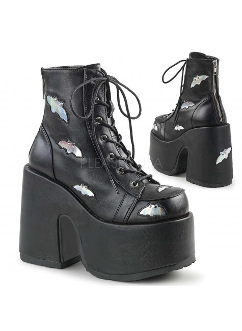 Camel Chunky Black Batty Platform Boots at Gothic Plus, Gothic Clothing, Jewelry, Goth Shoes & Boots & Home Decor