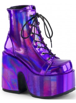 Purple Hologram Chunky Platform Boots Gothic Plus Gothic Clothing, Jewelry, Goth Shoes & Boots & Home Decor