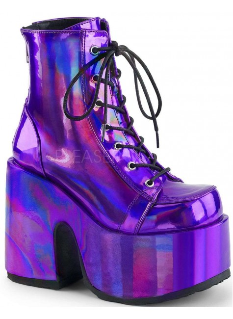 Purple Hologram Chunky Platform Boots at Gothic Plus, Gothic Clothing, Jewelry, Goth Shoes & Boots & Home Decor