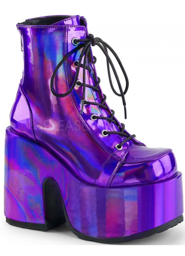 b573cf64938f Purple Hologram Chunky Platform Boots at Gothic Plus