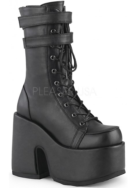 Black Matte Platform Chunky Heel Boots at Gothic Plus, Gothic Clothing, Jewelry, Goth Shoes & Boots & Home Decor