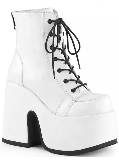 White Camel Chunky Heel Platform Boots at Gothic Plus, Gothic Clothing, Jewelry, Goth Shoes, Boots & Home Decor
