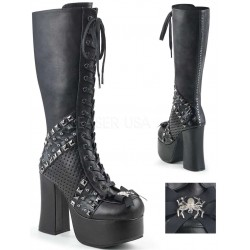 Charade Spider Bow Knee High Boots Gothic Plus Gothic Clothing, Jewelry, Goth Shoes & Boots & Home Decor