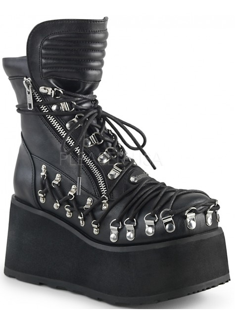 Clash Corseted Womens Motorcycle Boots at Gothic Plus, Gothic Clothing, Jewelry, Goth Shoes & Boots & Home Decor