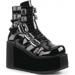 Buckled Concord Black Patent Platform Ankle Boot Gothic Plus Gothic Clothing, Jewelry, Goth Shoes & Boots & Home Decor