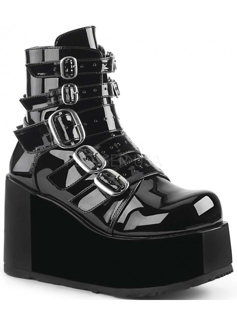 Buckled Concord Black Patent Platform Ankle Boot at Gothic Plus, Gothic Clothing, Jewelry, Goth Shoes & Boots & Home Decor