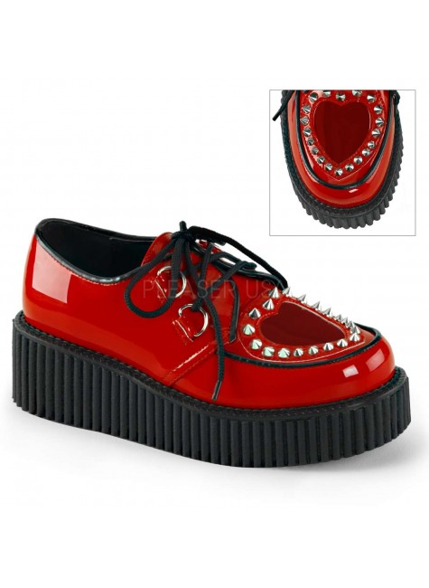 Heart Vamp Studded Womens Creeper in Red at Gothic Plus, Gothic Clothing, Jewelry, Goth Shoes & Boots & Home Decor