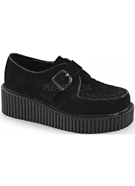 Platform Monk Creeper for Women in Black Faux Suede at Gothic Plus, Gothic Clothing, Jewelry, Goth Shoes & Boots & Home Decor