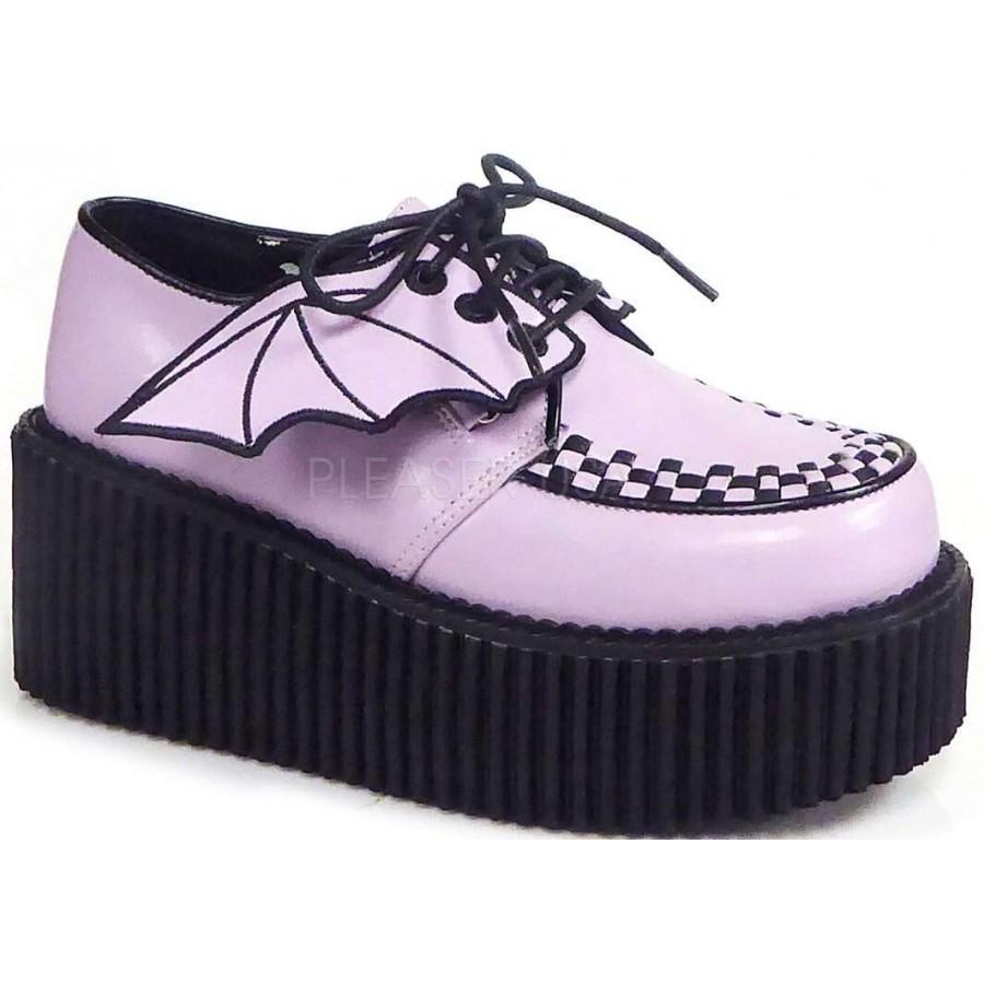 bat wing womens pink creeper 205 shoe demonia loafer
