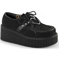 Heart Ring Faux Suede Black Creeper for Women