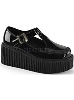 Platform T-Strap Black Creeper for Women