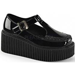 Platform T-Strap Black Creeper for Women Gothic Plus Gothic Clothing, Jewelry, Goth Shoes & Boots & Home Decor