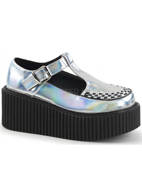 Platform T-Strap Silver Hologram Creeper for Women at Gothic Plus, Gothic Clothing, Jewelry, Goth Shoes & Boots & Home Decor