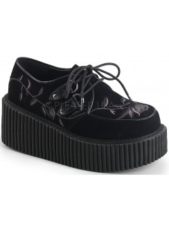 Embroidered Floral Black Faux Suede Womens Creeper