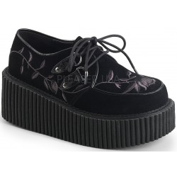 Embroidered Floral Black Vegan Suede Womens Creeper Gothic Plus Gothic Clothing, Jewelry, Goth Shoes & Boots & Home Decor