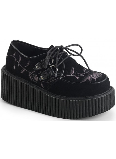 Embroidered Floral Black Faux Suede Womens Creeper at Gothic Plus, Gothic Clothing, Jewelry, Goth Shoes & Boots & Home Decor
