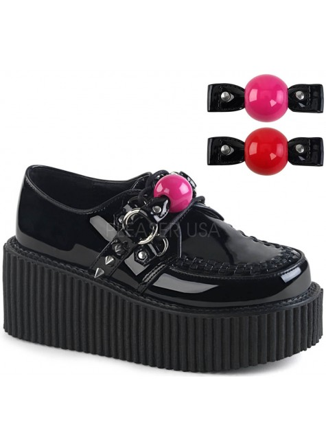 Ball Gag Black Faux Leather Womens Creeper at Gothic Plus, Gothic Clothing, Jewelry, Goth Shoes & Boots & Home Decor