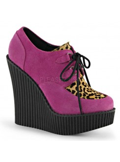 Hot Pink Faux Suede with Leopard Print Wedge Creeper
