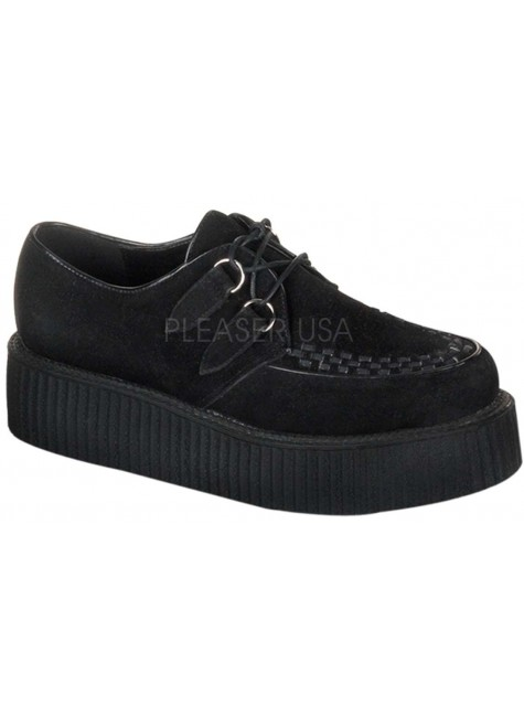 Black Suede Mens Creeper Loafer at Gothic Plus, Gothic Clothing, Jewelry, Goth Shoes & Boots & Home Decor