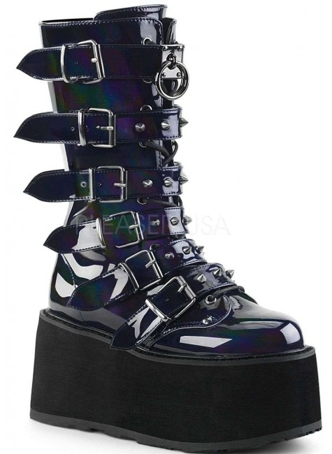 Damned Black Hologram Buckled Gothic Boots for Women at Gothic Plus, Gothic Clothing, Jewelry, Goth Shoes & Boots & Home Decor