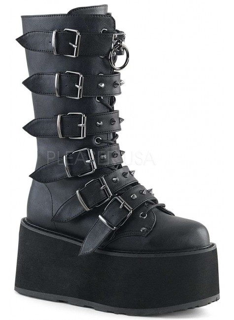 Damned Black Buckled Gothic Boots for Women at Gothic Plus, Gothic Clothing, Jewelry, Goth Shoes & Boots & Home Decor