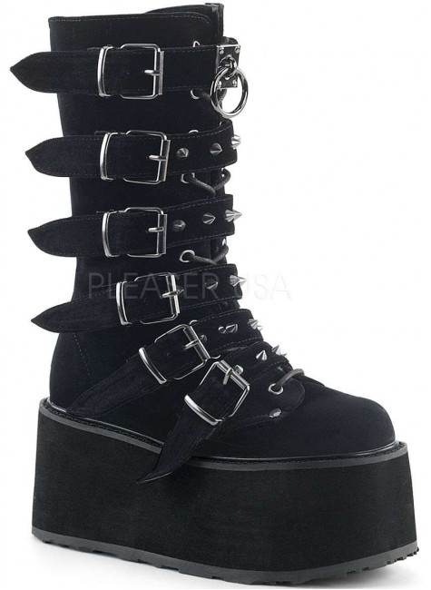Damned Black Velvet Buckled Gothic Boots for Women at Gothic Plus, Gothic Clothing, Jewelry, Goth Shoes & Boots & Home Decor