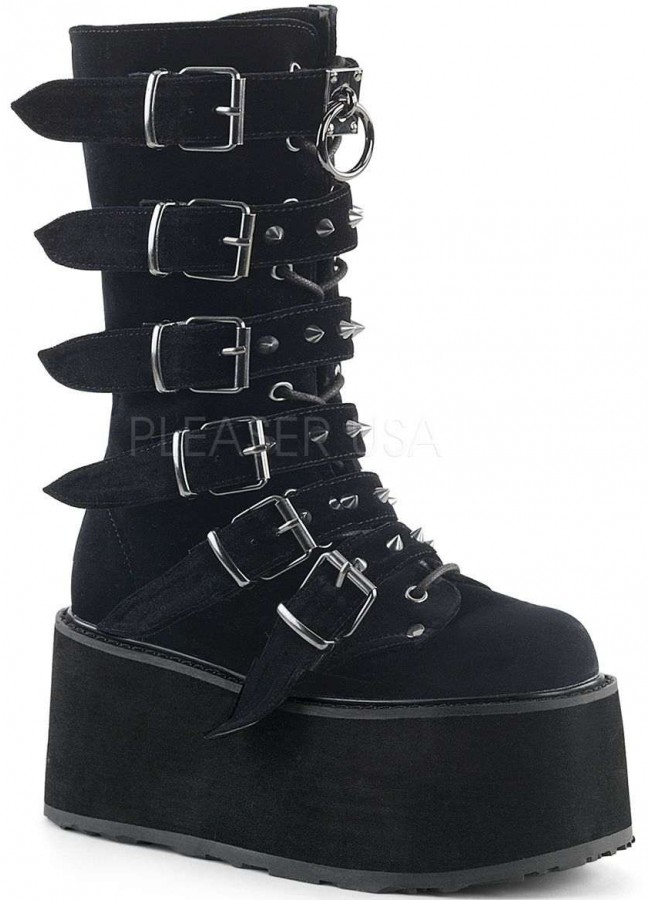 Damned Black Velvet Buckled Gothic Boots For Women