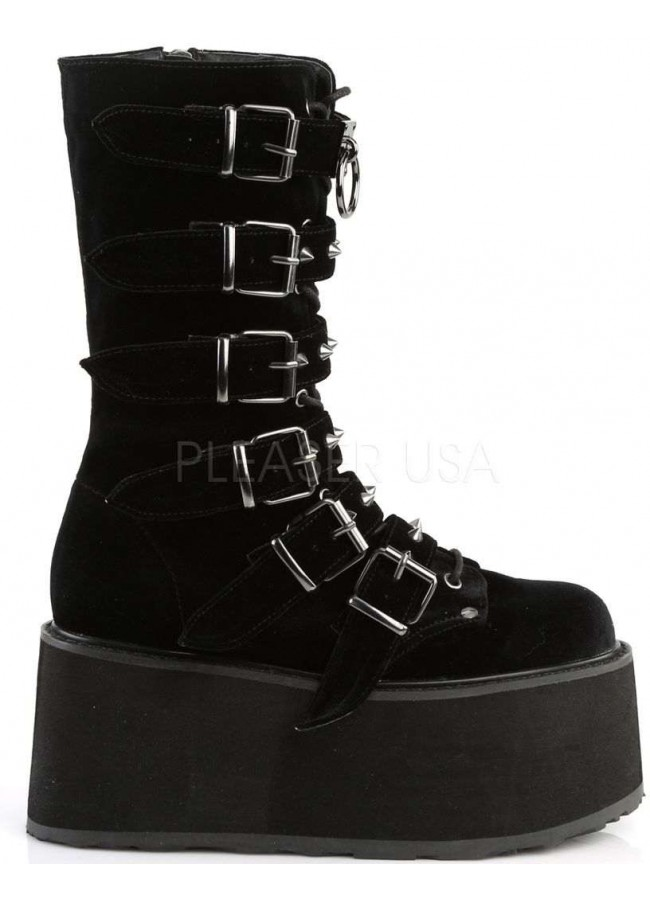 58bee845f4f Damned Black Velvet Buckled Gothic Boots for Women| Platform Goth Boots